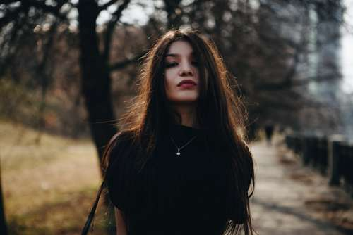 Portrait Girl In The Black Long Hair Person Lips