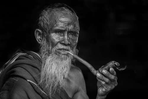 Portrait Smoking Old People Man Pipe Smoking Beard
