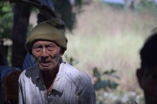 Portrait Old Man Face Marked Burma Burmese
