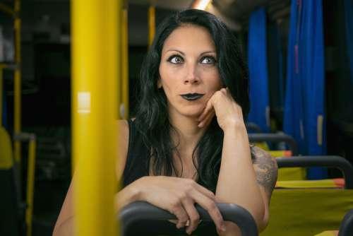 Portrait Women Model Person Bus Black Thinking