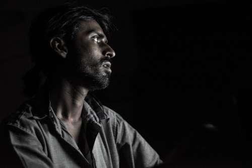 Portrait Dark Light Man Face Dark Human Desperate