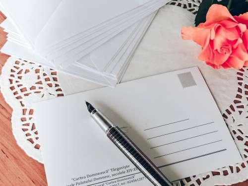 Postcard Pen Write Writing Correspondence Old