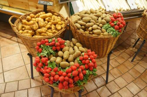 Potatoes Vegetables Radishes Food Organic Healthy