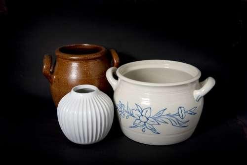 Pots Kitchen Vase Pot Bowl Brown White