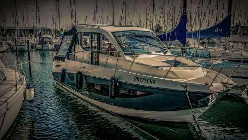 Powerboat Boat Yacht Port Sun Spot Water Summer