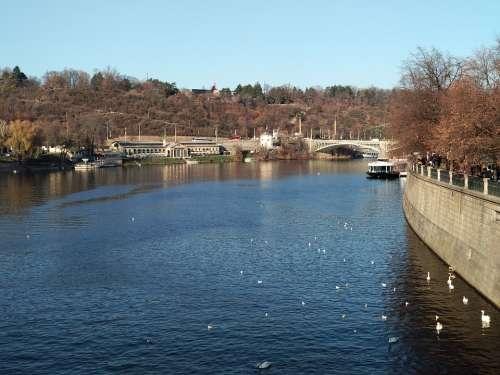 Prague Cityscape Scape River Tourism City