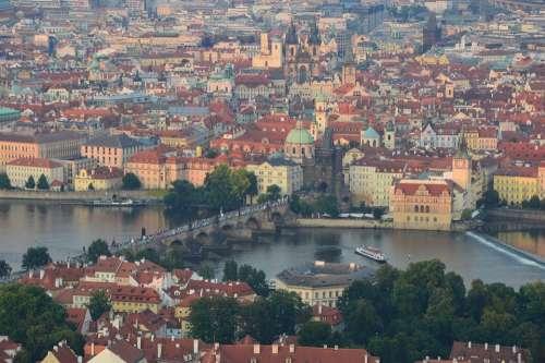 Prague City The Moldau River Landscape