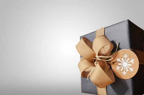 Present Gift Box Bow Ribbon Black Package