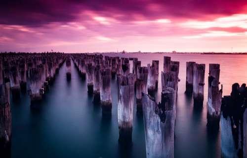 Princes Pier Melbourne Port Melbourne Poles Sunset