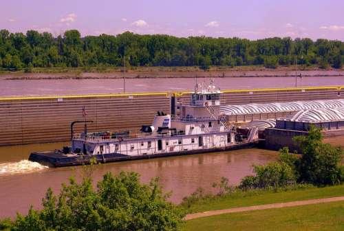 Pushing Downstream Tugboat Arkansas River Afternoon