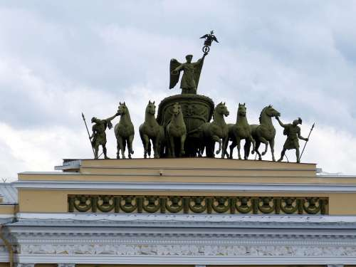 Quadriga St Petersburg Russia Horse Architecture