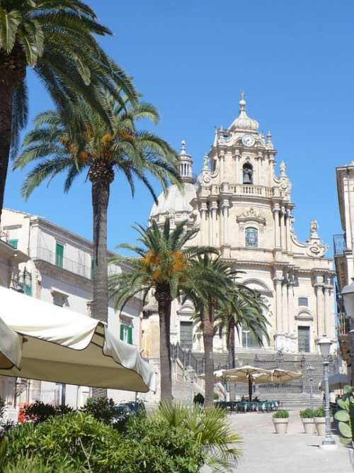 Ragusa Ibla Sicily Church Palms Italy Baroque