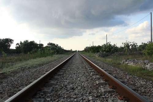Railroad Train Rail Tracks Horizon Cloudy