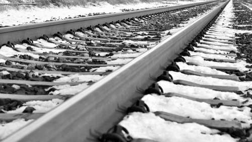 Railroad In Winter Snow Icy Cold Frost Travelling
