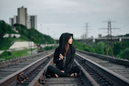 Railroad Tracks Sitting Woman Girl Asian Hipster