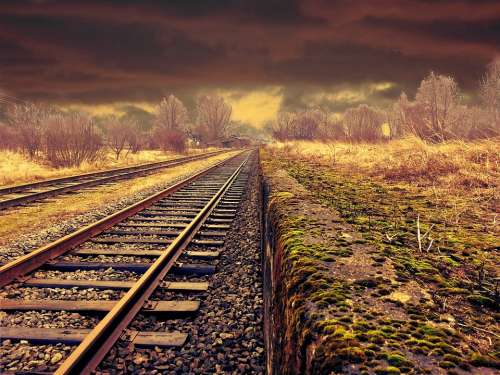 Railway Landscape Transportation Weather Moody