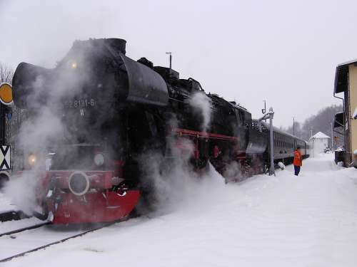 Railway Steam Locomotive Steam Smoke Winter Snowy
