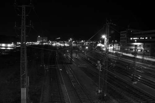 Railway Station Gleise Night Rails Railway