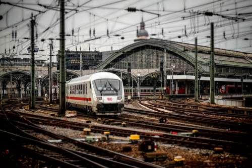 Railway Station Cologne Train Railway Ice Rails