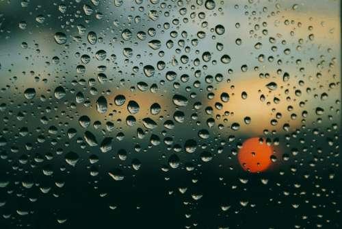 Rain Window Sunset Drops Water Clouds