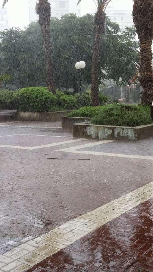 Rain Tel Aviv Israel Dusk