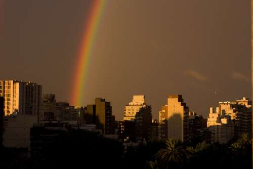 Rainbow City Afternoon Buildings Buenos Aires