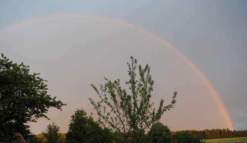 Rainbow Nature Thunderstorm Evening Sky Color