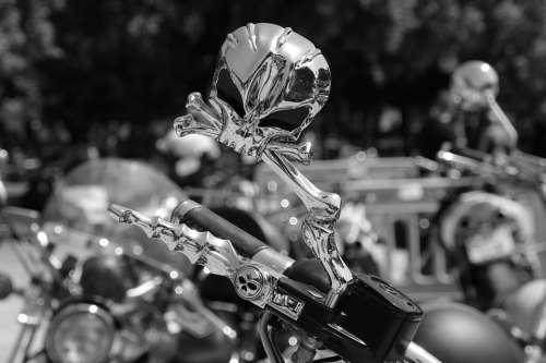 Rearview Mirror Motorcycle Vehicles Road Skull
