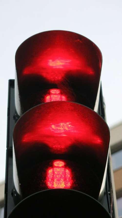 Red Traffic Lights Footbridge Signal Stop Road