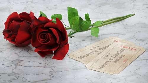 Red Roses Cards Heart'S Desire 3D Blender