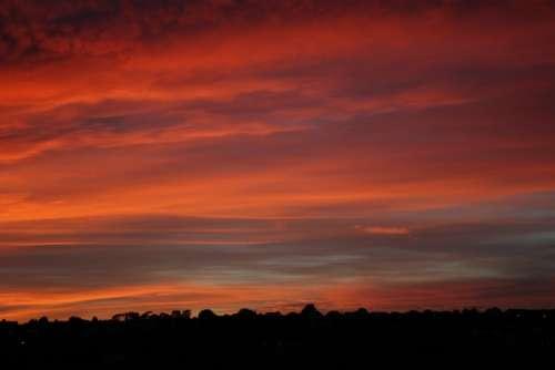 Red Sky Sky Clouds Sunset Sunrise Landscape Light