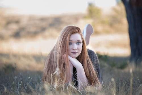 Redhead Beautiful Girl Hair Portrait Woman Young
