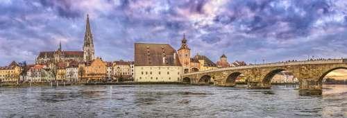 Regensburg Stone Bridge Dom Regensburg Cathedral