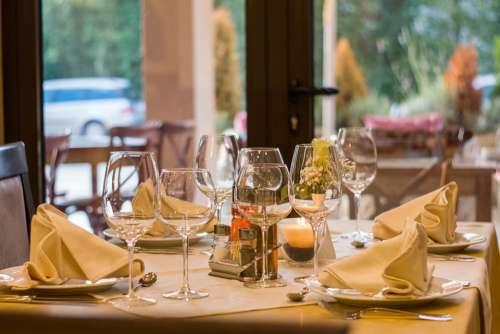 Restaurant Wine Glasses Served Dinner Celebration