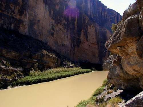 Rio Grande Texas Mexico River Cross Flow Landscape