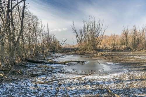 River Winter Landscape Nature Seasonal Sky