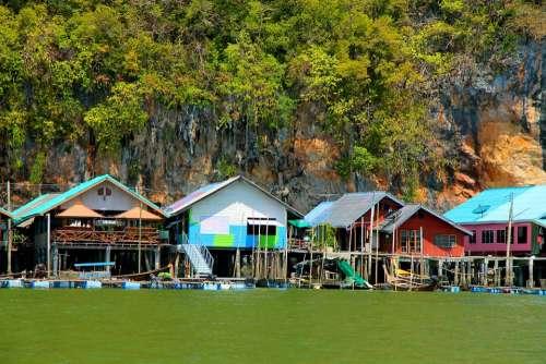 River Water Houses Architecture Landscape Thailand