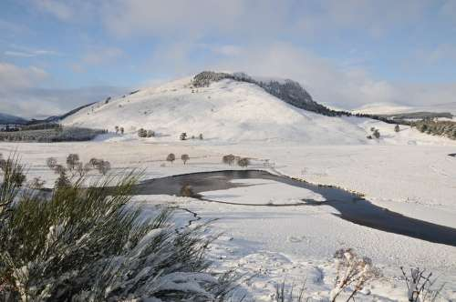 River Dee Braemar Deeside Scotland Snow Mountains