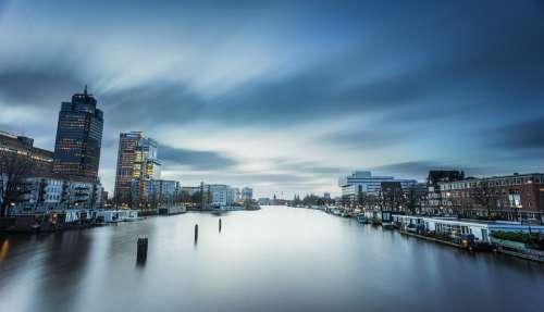 Riverbank Cityscape City Urban River Skyline Sky