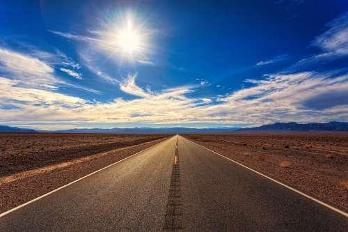 Road Sky Desert Landscape Nature Perspective Sun