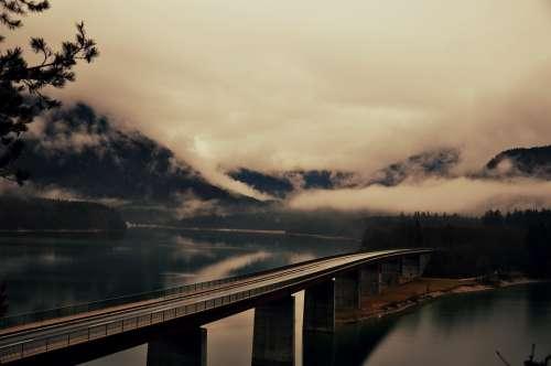Road Lake Bridge Sylvensteinspeicher Gloomy