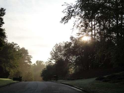 Road Dawn Landscape Nature Light Freedom Blue
