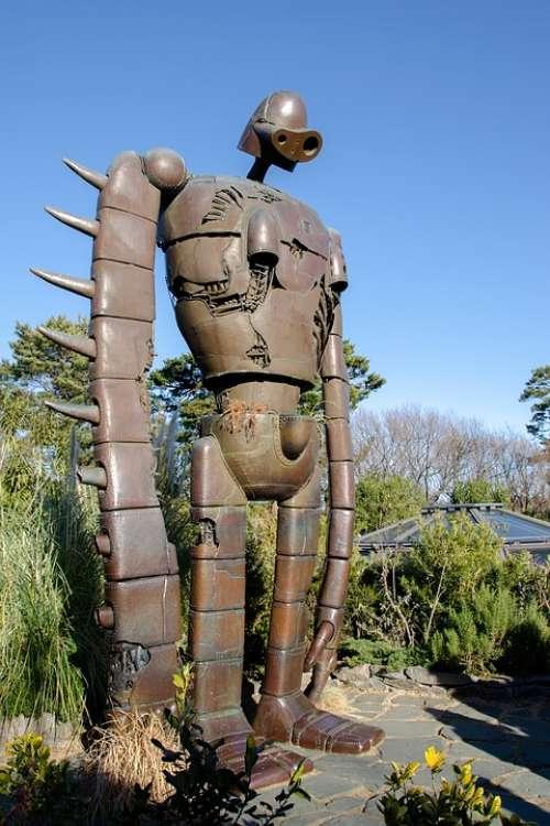 Robot Soldier Statue Life-Size Sculpture Figure