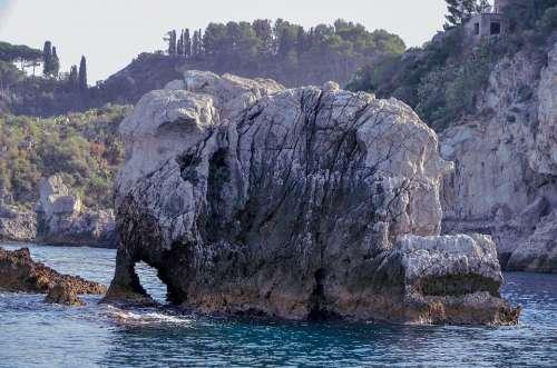 Rock Elephant Sea Taormina Sicily Italy Travel