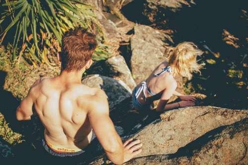 Swimsuit Couple Man Muscles Muscular Woman Rocks