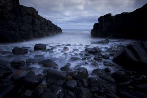 Rocks Pebbles Sea Long Exposure Ocean Beach