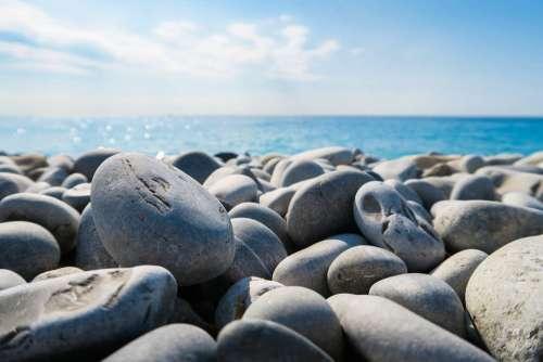 Rocks Beach Ocean Horizon Smooth Rocks Tide Tidal