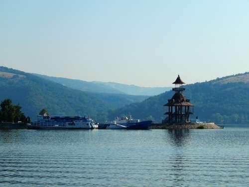 Romania Danube Landscape The Danube Ship Nature