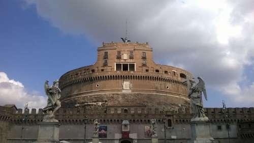 Rome Castel Sant'Angelo Tiber Castle Statues Bridge
