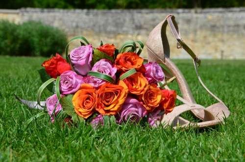 Roses Wedding Bride Shoes Shoe Court Shoe Flowers